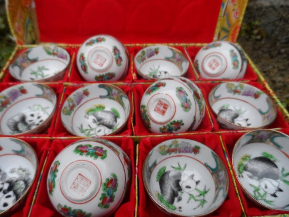 Vintage chinese  eggshell porcelain cups