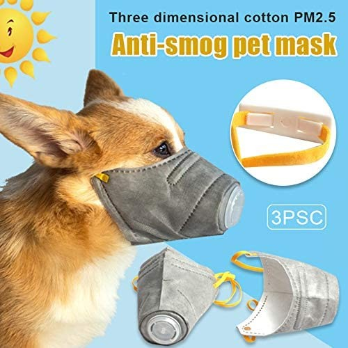 Reusable Dog Dustproof Face Mask - 3Pcs