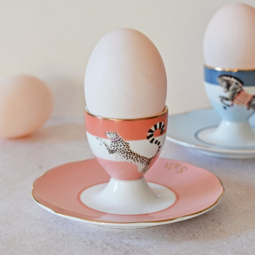 cheetah and Zebra egg cup set