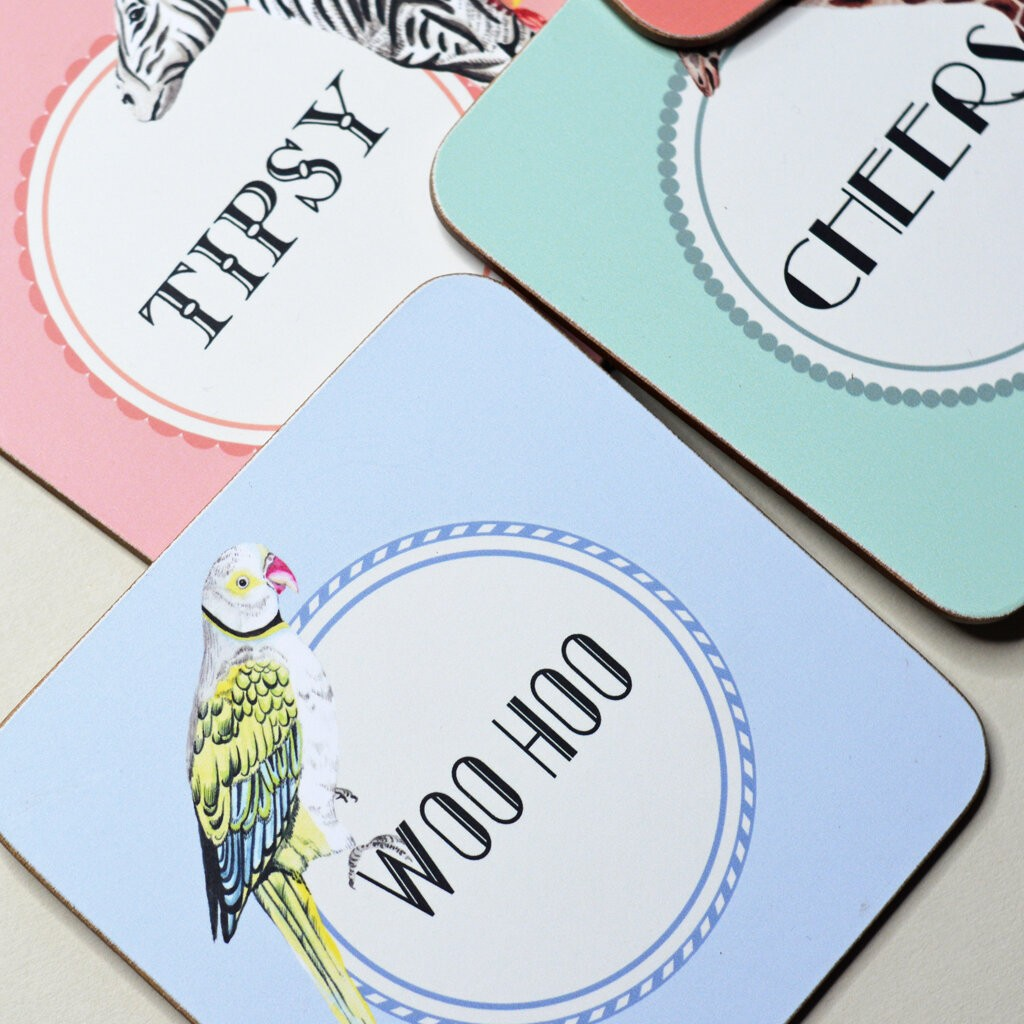 Happy Coasters, set of 4