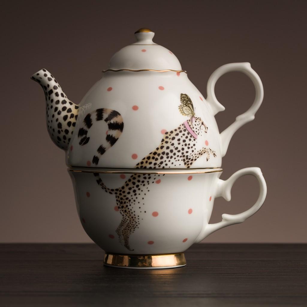 Cheetah Tea Pot for one