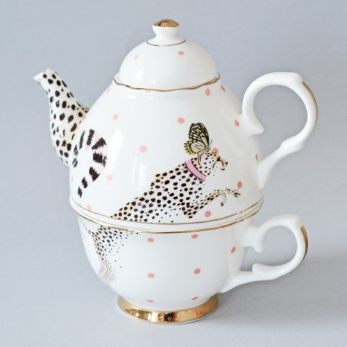 Cheetah Tea Pot for one