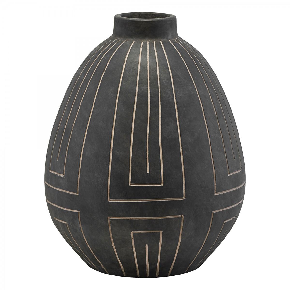 Sandstone Charcoal Grey Vase