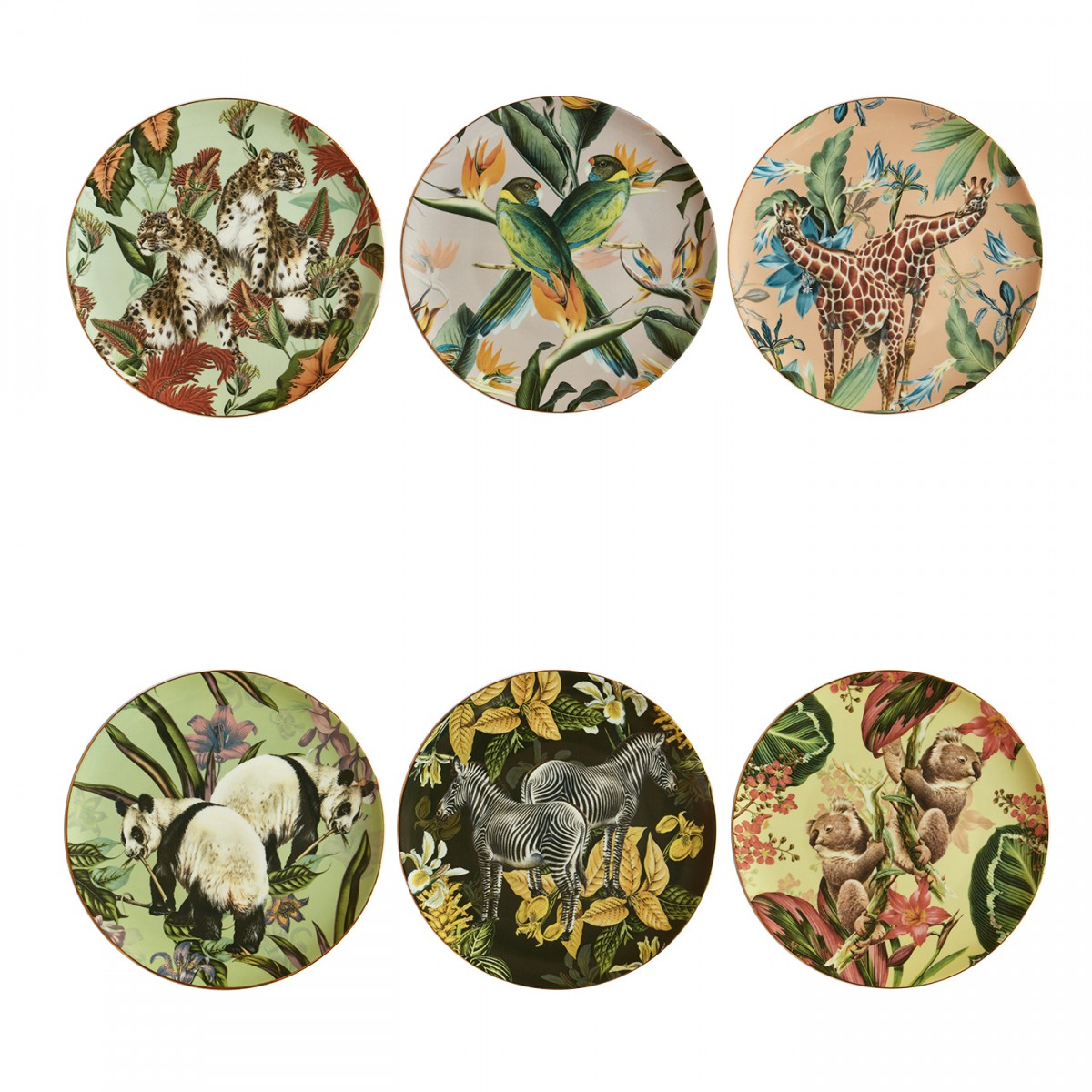 "Set of 6 Dinner Plates ""Jungle"""