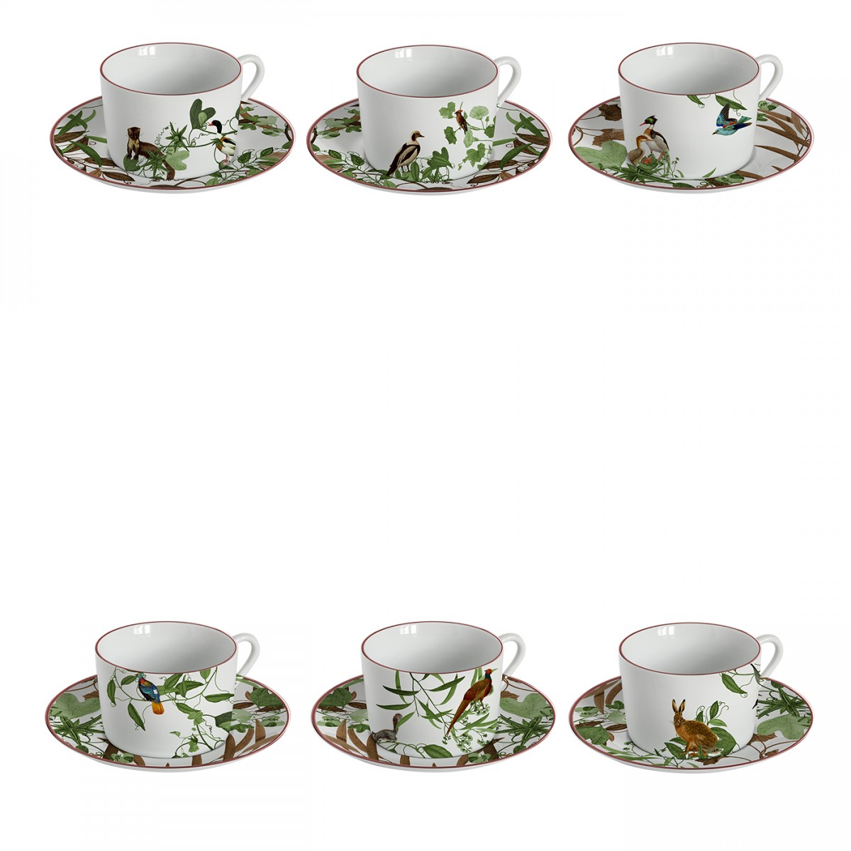 "Porcelain Set of 6 Teacups ""Birds World"""