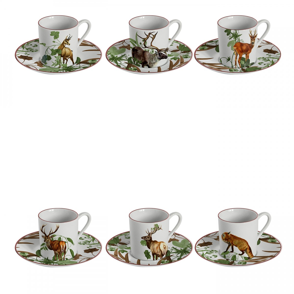 "Set of 6 Espresso Cups ""Forest Vibes"""