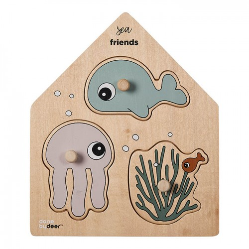 Wooden Puzzle with Sea Characters