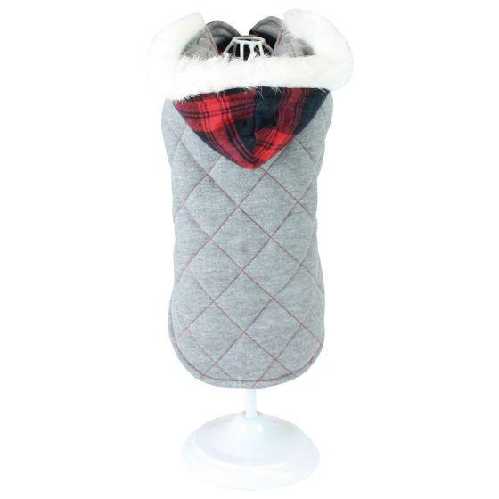 Reversible Gray & Red Dog Coat