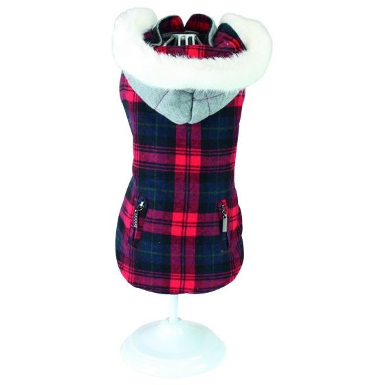 Reversible Gray & Red Dog Coat