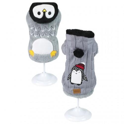 Dog Sweater Penguin Gray