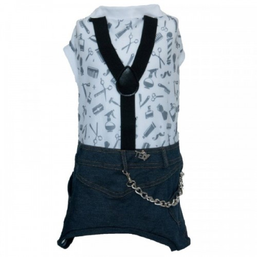 Hipster Style Dungarees with a T-shirt for Dogs