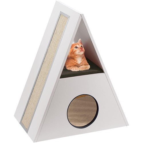 Wooden House and Scratching Post for Cats