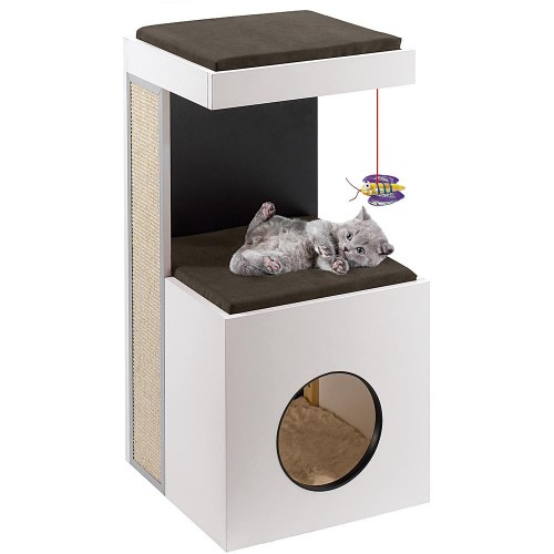 Cat Wooden House, Scratching Post and Play Area