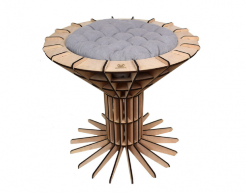 Wooden Bed for Cats as a Martini Glass