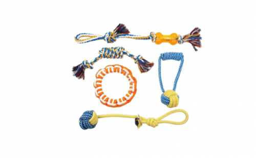 Set of 5 Multicolor Dog Toys