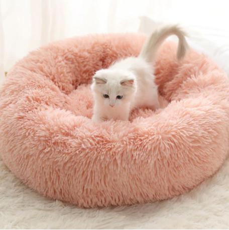 Fluffy, Warm, Round Pink Bed