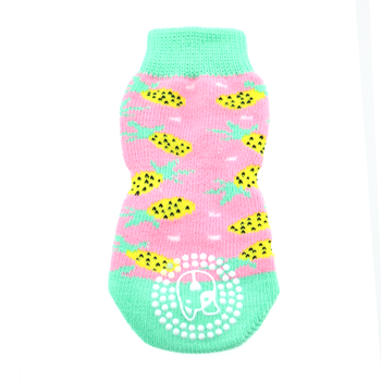 Cute Non-Skid Dog Socks in Pineapple
