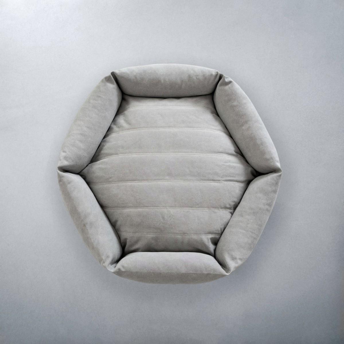 Warm Rugged Canvas Hex Cushion in Stone