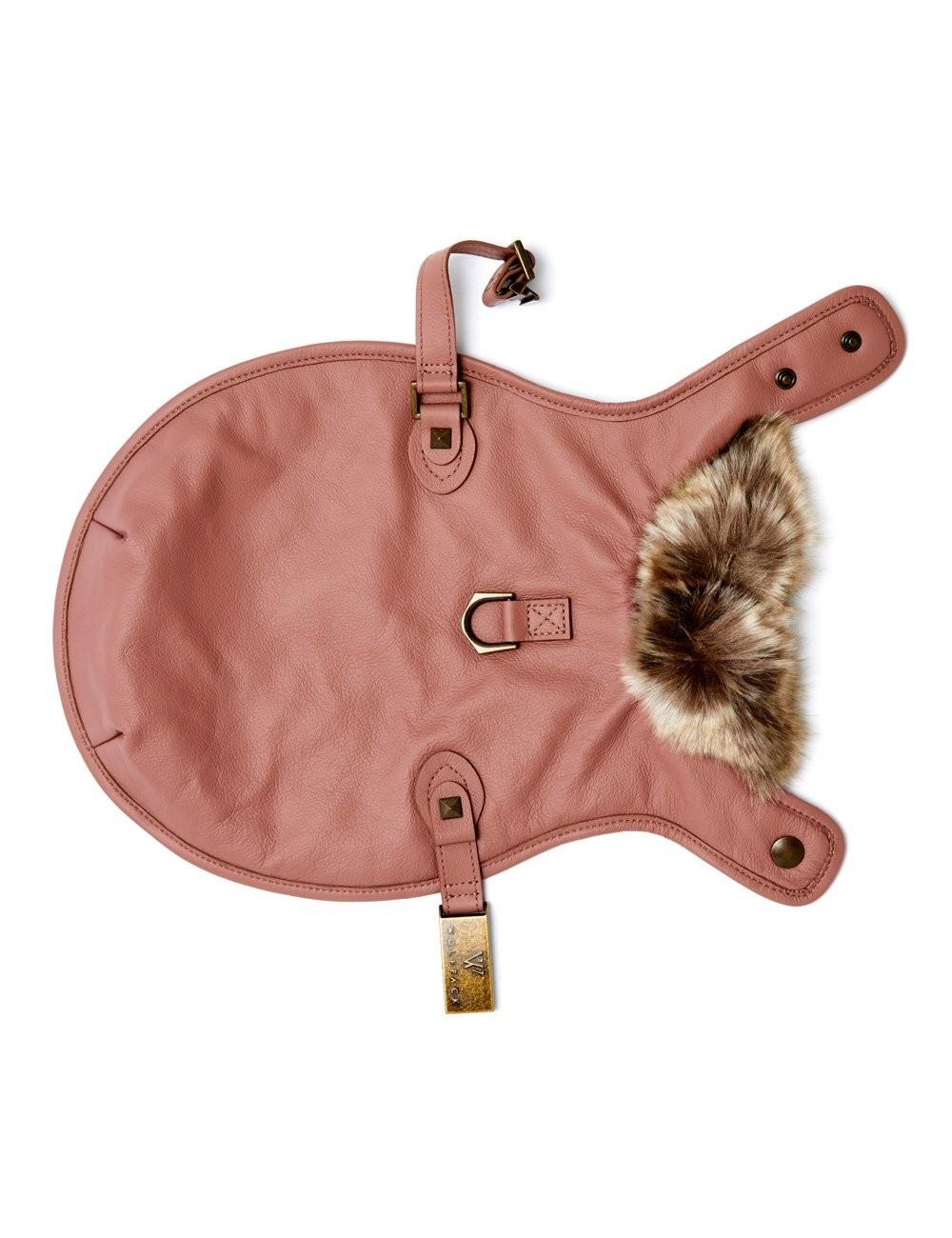 Leather Dog Jacket in Rose