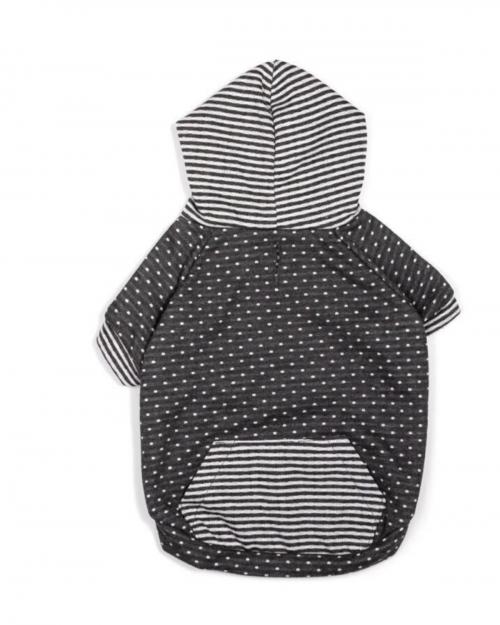 Cozy Grey Dot & Stripe Hoodie