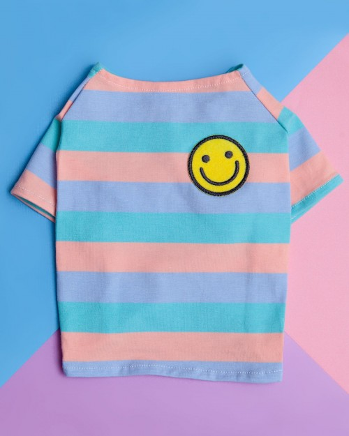 Smiley Stripe Dog T-Shirt