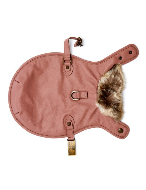 Leather Dog Jacket in Rose