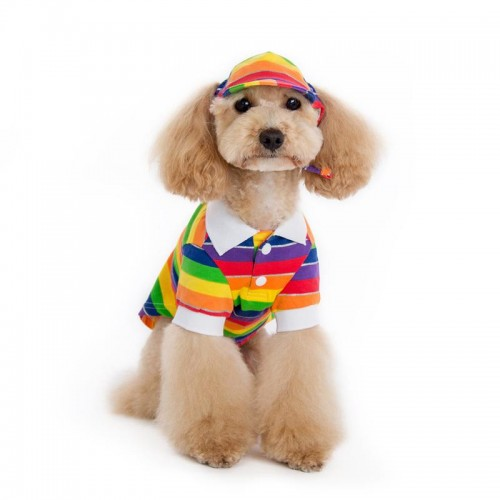 Rainbow Stripe Polo Dog Shirt