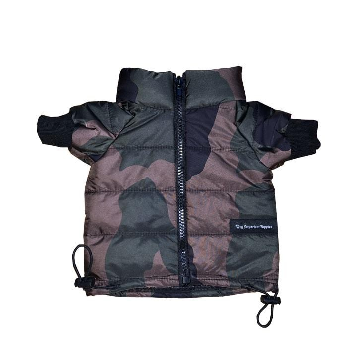 Chic Green Camo Puffer Jacket