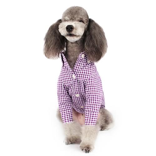 Purple Cozy Button-down Check Shirt