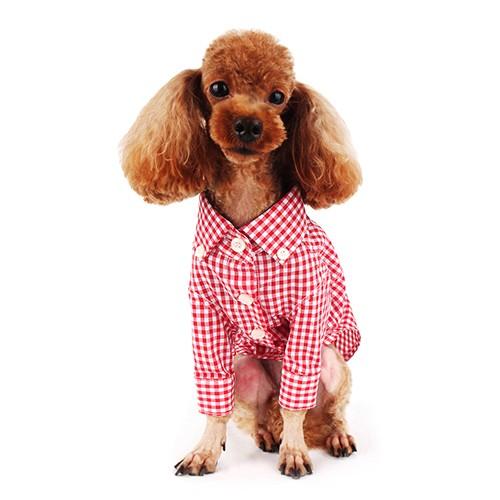 Red Check Button-down Dog Shirt