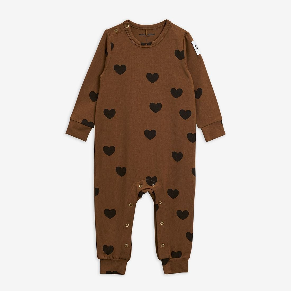 Cute Basic Hearts Jumpsuit in Brown