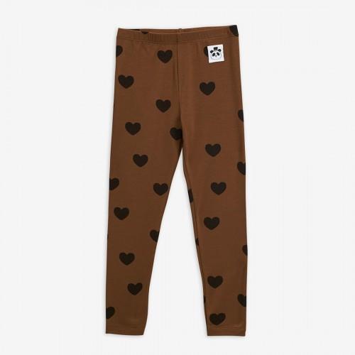 Brown Basic Hearts Leggings