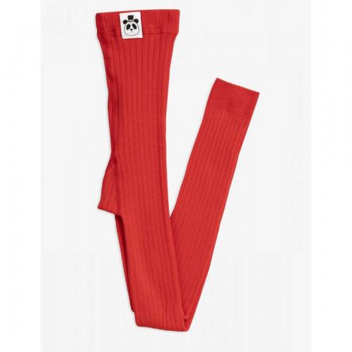 Cotton Red Rib Leggings