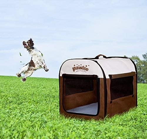 Brown Portable Soft Dog Crate Folding