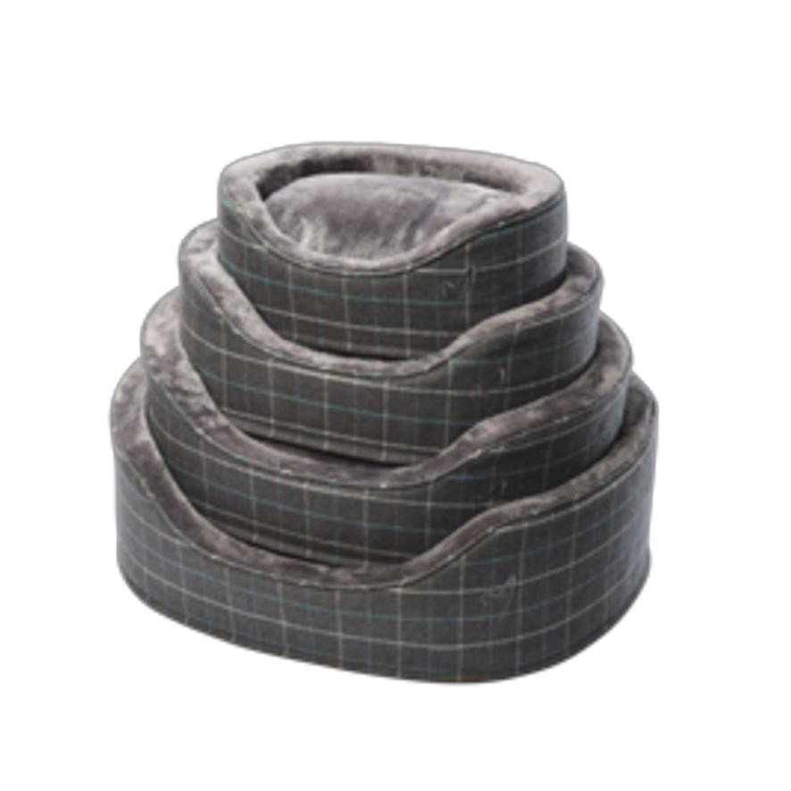 Navy Premium Checkered Bed