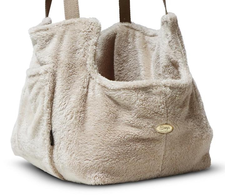 Fuzzy Beige Office and Travel Carrier