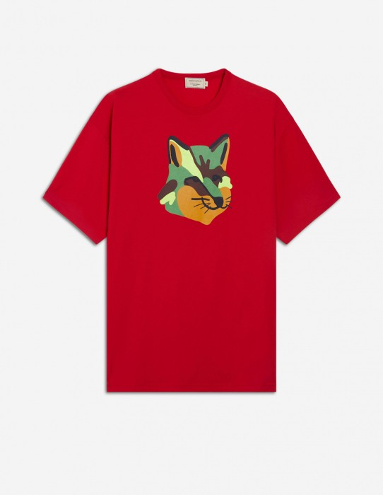 Red Unisex Tee-Shirt with Neon Fox Print