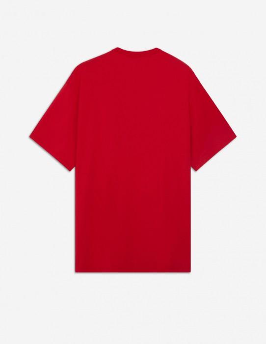 Red Unisex Tee-Shirt with Neon Fox Print