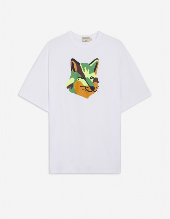 White Oversized Tee-Shirt with Neon Fox Print