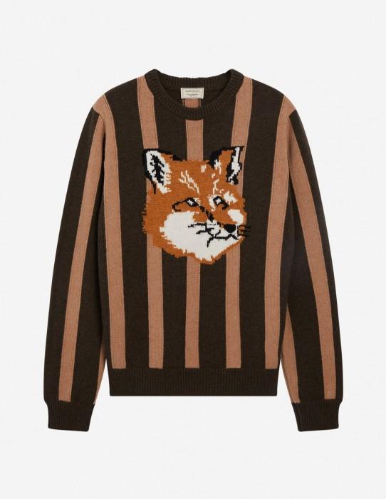 Unisex Stripes Fox Head Pullover in Khaki