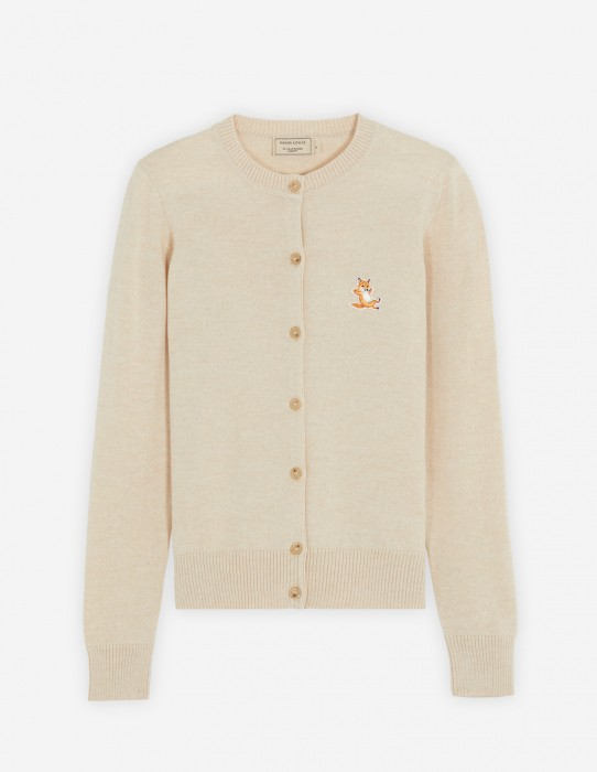 Beige Melange Patch Adjusted Cardigan