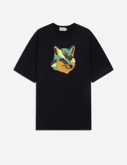 Black Oversized Tee-Shirt with Neon Fox Print