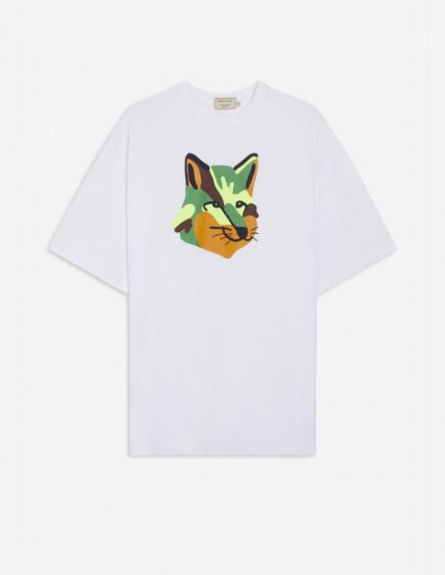 White Oversized Tee-Shirt with Neon Fox Print