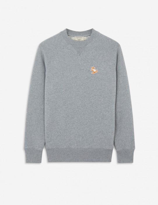 Grey Melange Fox Patch Sweatshirt