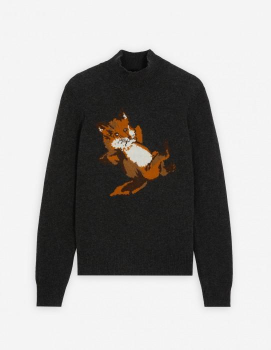Anthracite Melange Fox Jacquard Pullover