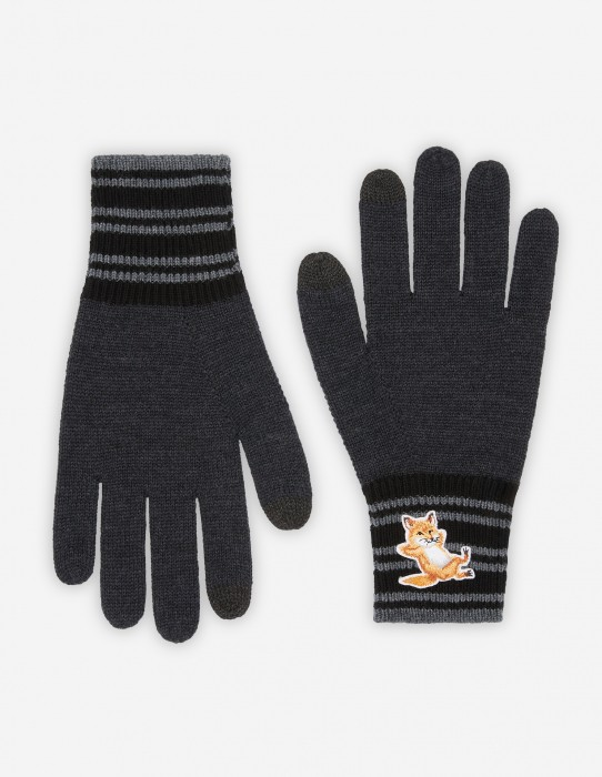 Anthracite Melange Fox Striped Gloves
