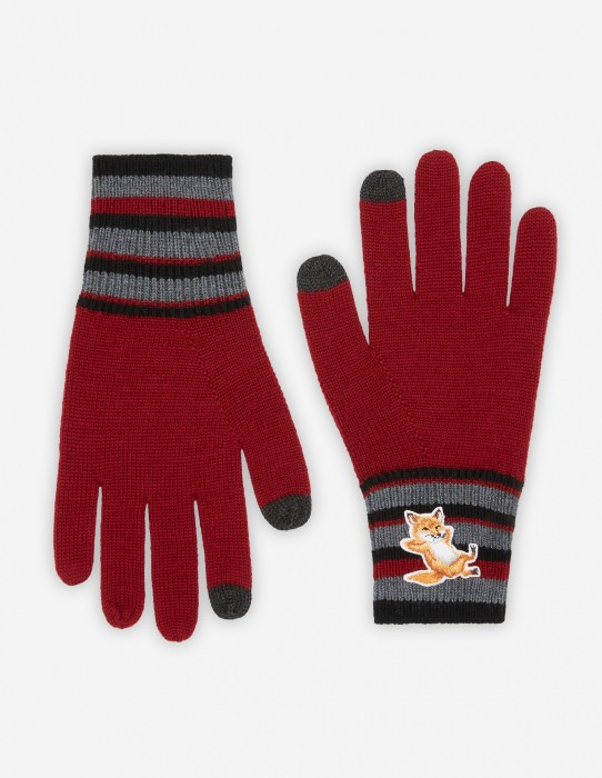 Dark Red Fox Striped Gloves