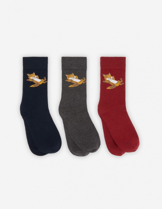 Multicolor Fox Socks Gift Box