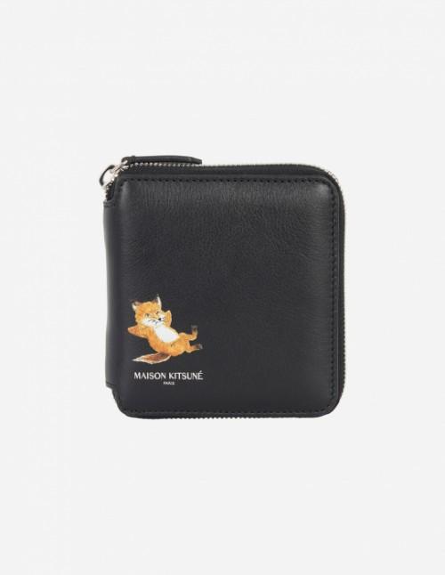 Black Square Zipped Fox Wallet