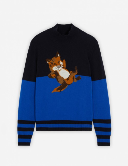 Black and Blue Fox Striped Pullover
